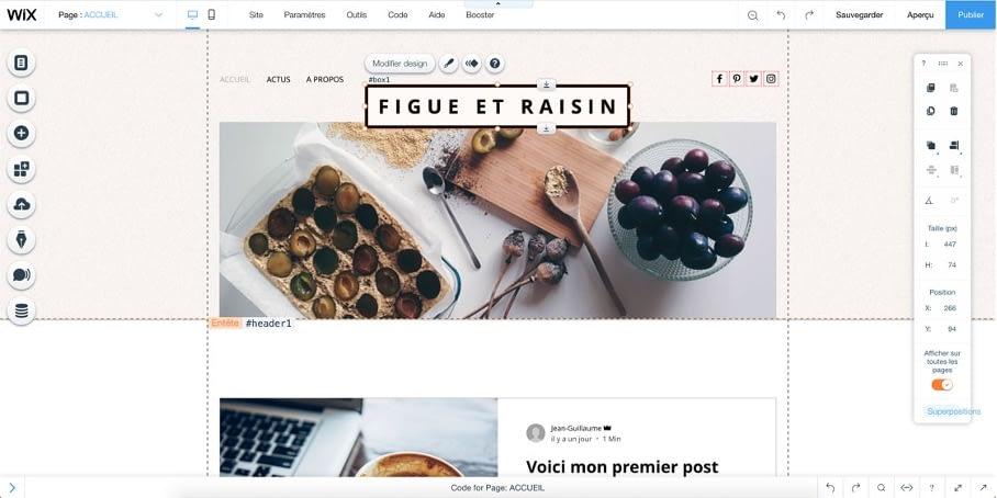 créer un site avec Wix