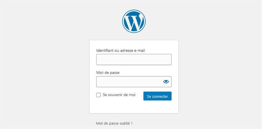 Interface d'administration WordPress